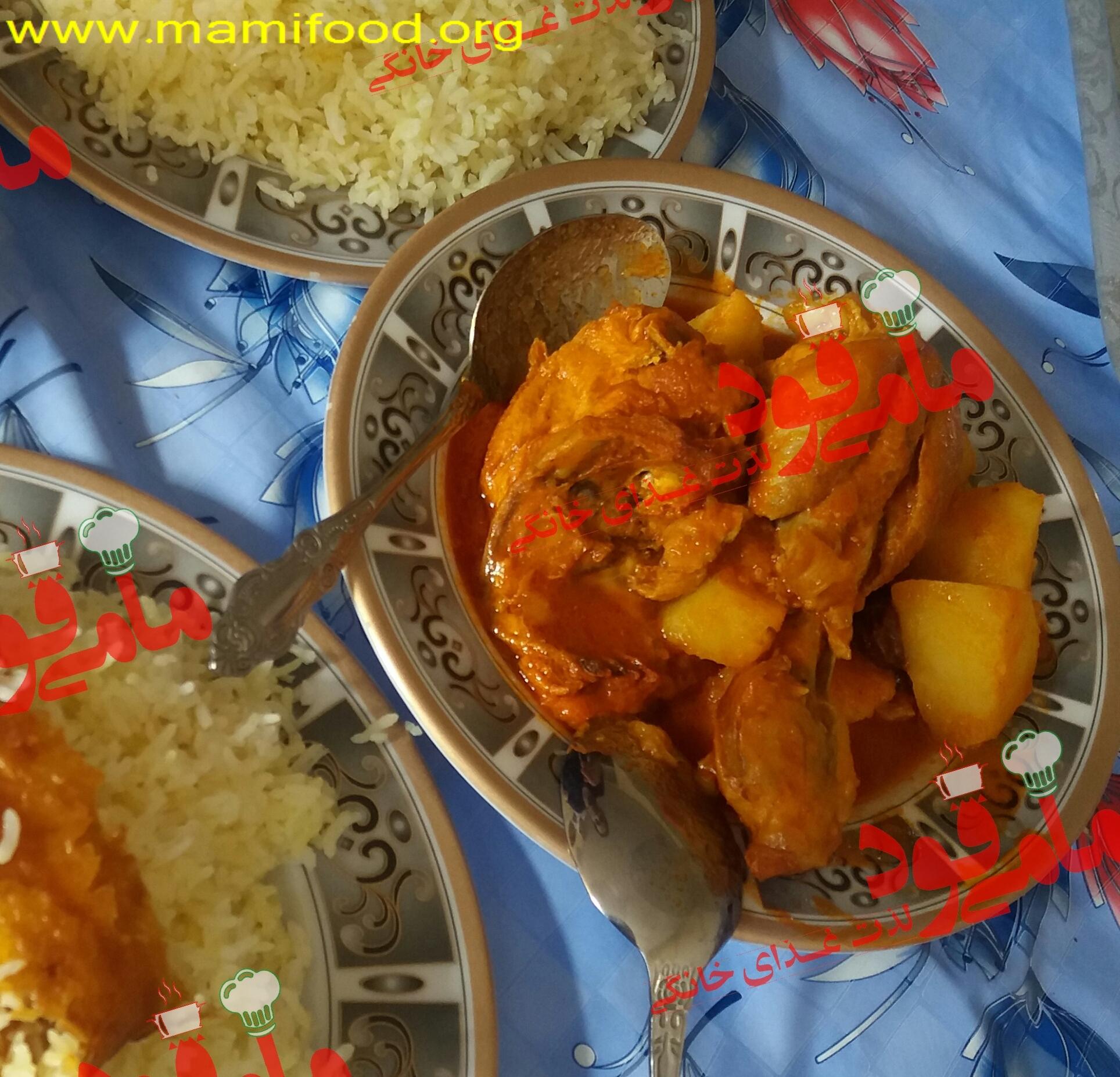 خورش مرغ و سیب زمینی